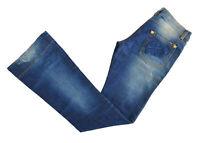 Pantalone Jeans Denny Rose Blu effetto slavato Taglia S Donna Made in Italy 8190