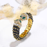 Panther Leopard Animal Bracelet Bangle Christmas Black Crystal Gold Women Party