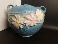 """Gorgeous Vtg Cosmos Blue And Flowers Roseville 376 - 6"""" Pottery Art Planter Vase"""