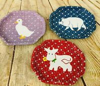3 vtg tid bit snack tray psc made in Hong Kong MCM goose  Pig cow 7.5 x 6.25