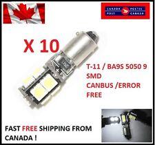 10 X white T11 BA9S W6W 5050 9SMD 9 LED Led Canbus Error Free Lamps 12V DC Xenon