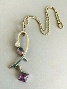 """LILLY BARRACK Sterling Silver 3.5"""" AMETHYST MOONSTONE HERKIMER DIAMOND Necklace"""