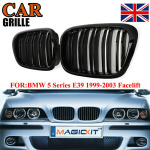 Gloss Black Front Double Line slat Grille Grille For BMW 5 Series E39 99-03 M5
