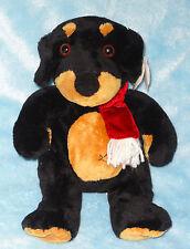 Wishpet Plush Dog Doberman Rottweiler Red Scarf Black Brown Puppy Stuffed Toy