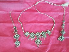 Beautiful IndianTraditional Style Silver Kundan CZ Stone Necklace and Jumki Set