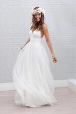 Elegant Simple V-neck Spaghetti Strap Wedding Dress Open Back Summer Bride Dress