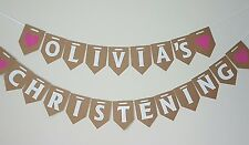 Personalised Christening Bunting Decoration Party Banner Church Boy Girl Baptism