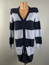 Lacoste Womens Navy Blue Striped Cotton Long Cardigan Jumper Sweater Size 40 L
