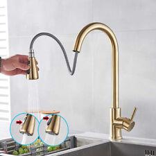 Gebürstetes Gold 360° Wasserhahn Küche Armatur Dual-Spülbrause Küchenarmatur