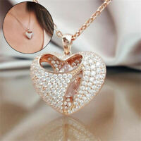 Exquisite Fashion Rose Gold Heart Pendant Love Necklace Diamond Jewelry Gifts