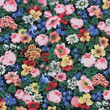 Peter Pan Calico Fabric Sm Pink Yellow Blue Flowers on Black Cotton BTHY NOS