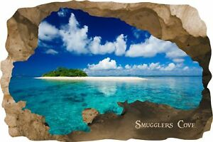 Huge 3D Smugglers Cove Beach Cave View Wall Stickers Mural  Decal Film 53