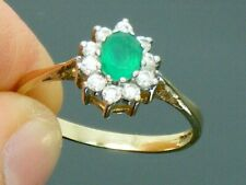 9ct Gold Emerald Hallmarked Cluster ring size L