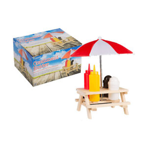 Condiment holder wooden picnic table with sunshade