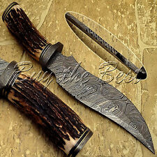 BEAUTIFUL CUSTOM HAND MADE DAMASCUS STEEL HUNTING BOWIE KNIFE WITH STAG GRIP