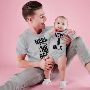 NEED BEER AND NEED MILK BODYSUIT AND TEES BABY SHOWER DAD BABY MATCHING T SHIRT