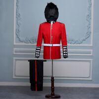 British Uniform Royal Guard Soldier Costume Mens Fancy Dress Outfit Grenadier