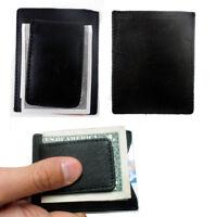 Mens Leather Black Money Clip Slim Pocket Wallet Magnetic ID Credit Card Holder