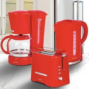 ONVAYA® Frühstück Set 2209 | hellrot | Kaffeemaschine + Toaster + Wasserkocher