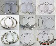 Wholesale Fashion Earring lots 9 pairs Silver Plated Hoop Earrings US-SELLER #49