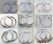 SU-11 Wholesale Fashion Earring lots 9pairs Silver Plated Hoop EarringsUS-SELLER