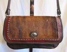 American West Med Sz Calf/Pony Hair & Brown Leather Crossbody/Shoulder Handbag