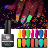 MEET ACROSS Neon Colors Fluorescent Luminous Gel Nail Polish UV LED Soak Off 8ml
