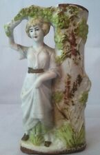Vintage German Bisque Figurine  Lady& Tree Matchstick Holder 1343 inscribed#F959