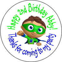 48 super why superwhy wyatt stickers Birthday Party 1.67 Inch Personalized