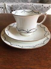 Vintage Retro Paragon China Tea Cup Trio Cup Saucer Plate Black Gold