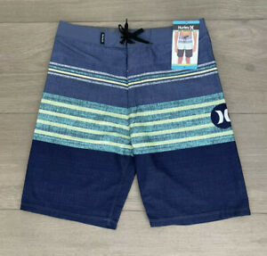 (1) Hurley Board Shorts Boys Size 16 Youth Navy Blue Lime Kids Swimming Trunks