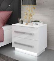 Nachttisch LED Nachtkommode Hochglanz Nachtschrank Weiß Beleuchtung KOMMODE weiß