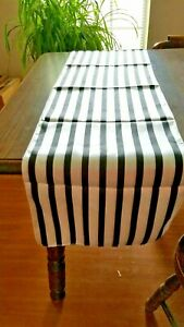 """Satin Table Runner Black & White Striped 14"""" x 108"""" Parties Weddings Showers"""