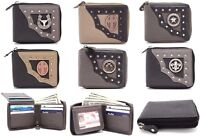 Men Biker Trucker Cow Leather Zip around Bi-fold Wallet Western Style Buckle