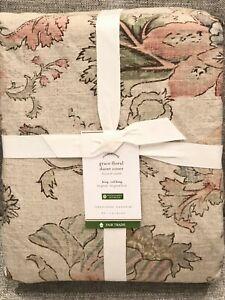 NEW Pottery Barn Grace Floral Texture Cotton/Linen Blend King/Cal Duvet Cover