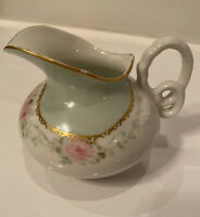 Charles Haviland Limoges GDA Small Creamer Pink/Green Floral W/Gold