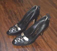 Alexandra Neel Black Leather and Silver Metallic Pump Heels (Sz 5.5 US, 36 EU)