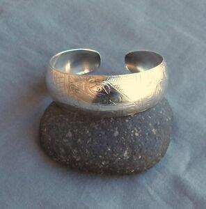 Northwest Coast Sterling Silver EJT Engraved  Raven Eagle Cuff Bracelet