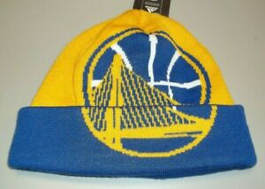 NBA Golden State Warriors Cuffed Knit Adidas Hat - Adult One Size - New