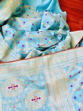 PURE Blue Benarasi Silk Saree Party Wedding Blouse Katan Not kanchipuram Pattu