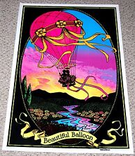 BEAUTIFUL BALLOON Hot Air Balloon Velva Flocked Blacklight Poster 1973 AA Sales