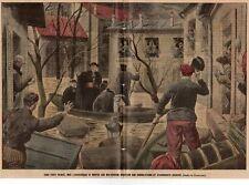 """PARIS INONDATIONS """" ARCHEVEQUE AMETTE PORTANT SECOURS """" FLOOD ILLUSTRATION 1910"""