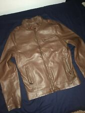 *NWOT* FASHION MEN'S MILITARY STYLE BROWN FAUX LEATHER JACKET COAT size SMALL
