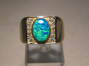 BRILLIANT  Large Men's  Diamond & Opal Ring  20 grams of Solid 14k Yellow Gold