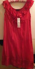 Sandro Ferrone abito di cotone seta rossa, UK 12