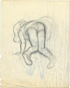 Pencil study of a girl bending over showing her knickers by Hubert John Williams