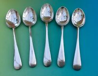 VINTAGE TEA SPOONS x5 - OLD ENGLISH EPNS SILVER PLATE CUTLERY SHEFFIELD