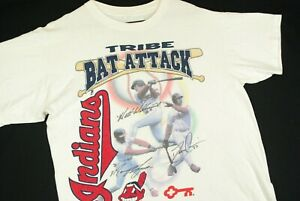 Vintage 90s Cleveland Indians Chief Wahoo Tribe Attack T Shirt Throwback Mens XL