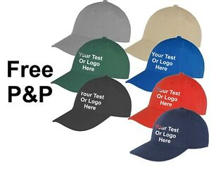 Custom Personalised Embroidered Brushed Cotton Cap Text Logo Unisex Free P&P