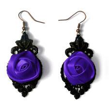 boucles d'oreilles Gothique victoriennes dentelle noire fleur violette violet